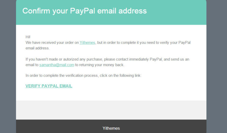 Email confirm for PayPal account