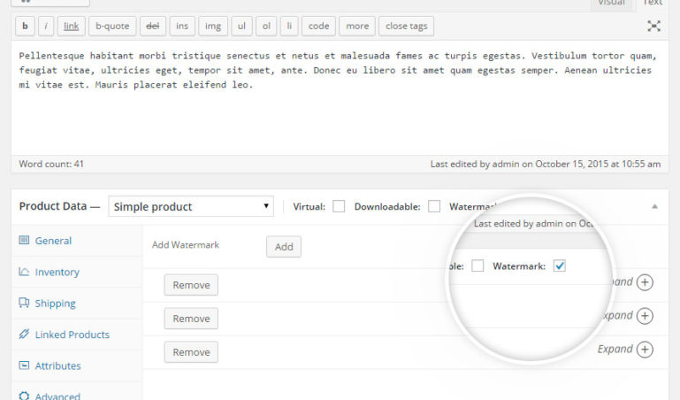 Single product - Watermark configuration