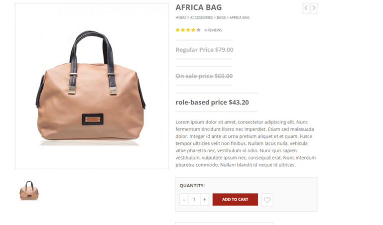 Price in product detail page