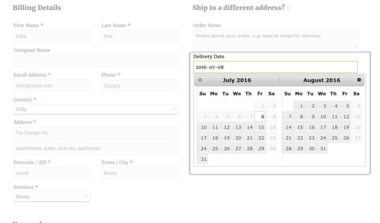 Calendar - Checkout Page