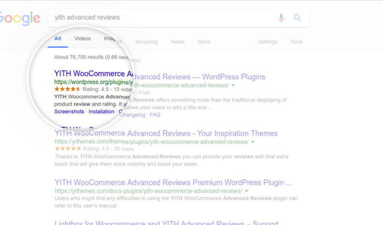 Product rating in google pages