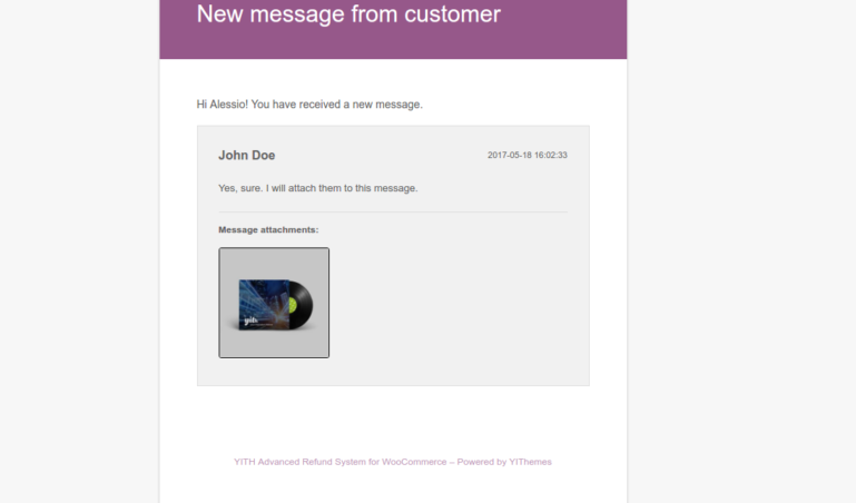 Admin email - New message