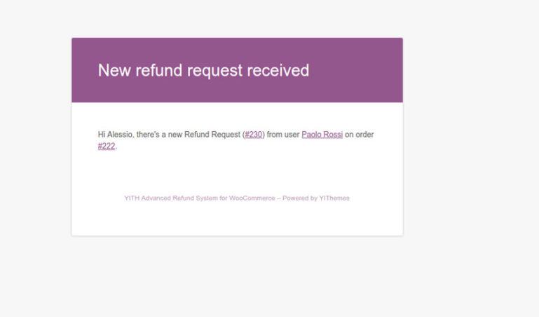 Admin email - New refund request