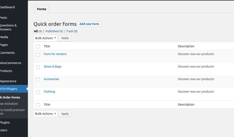Quick order forms list