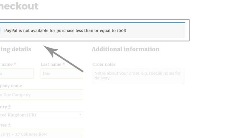 Custom message in checkout page