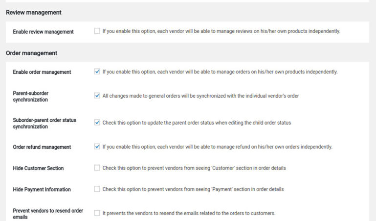 Vendors settings - Section2