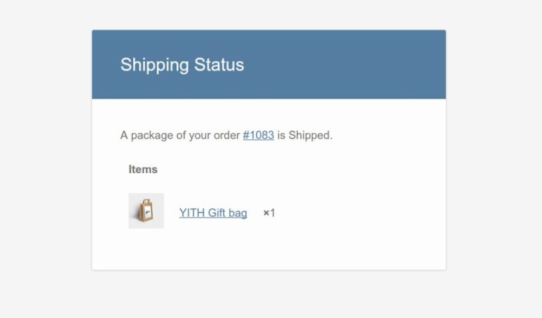 Email notification on shipping status change