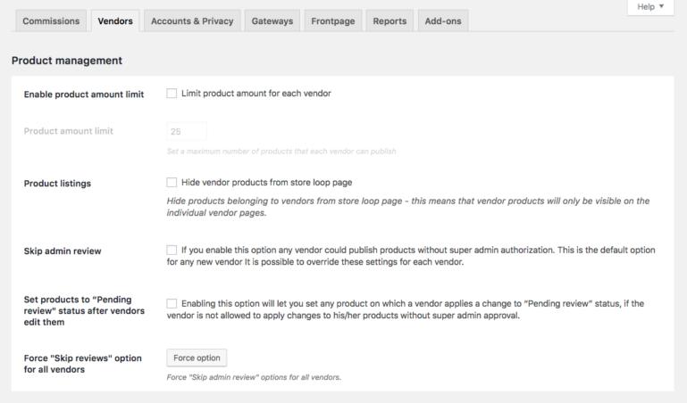 Vendor settings - Section 1