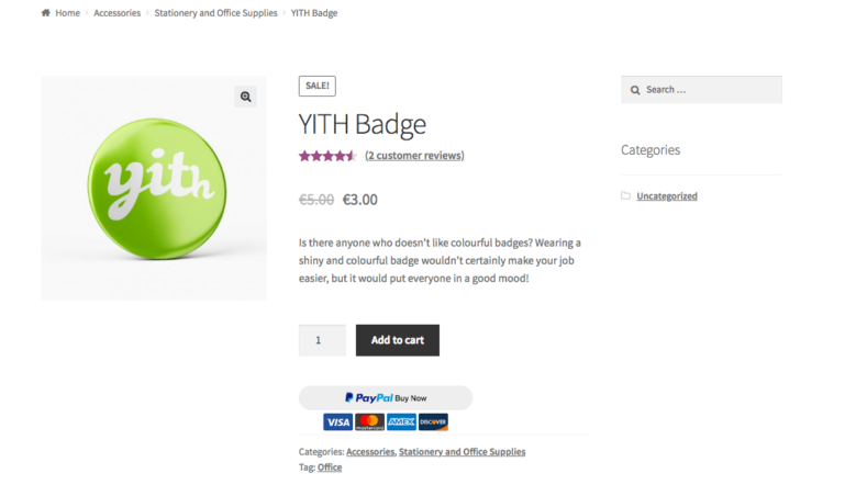 Button on product page with acceptance marks