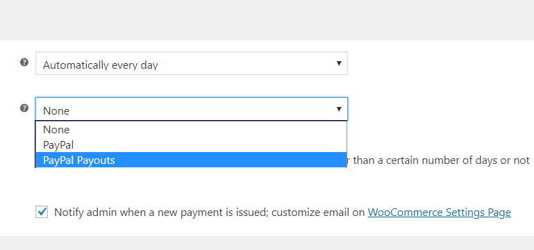 Payouts for automatic affiliate payments