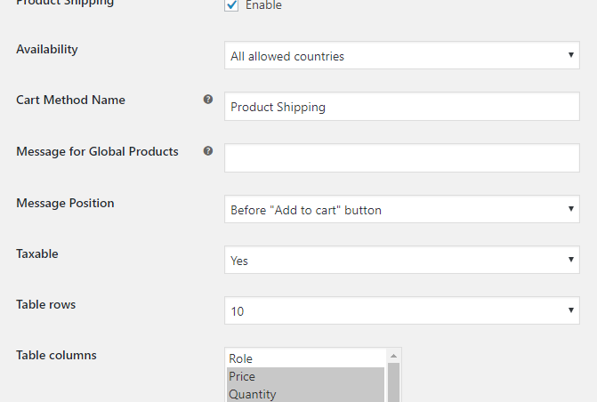 Enable product shipping