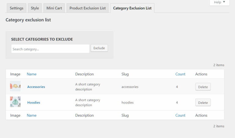 Category exclusion list