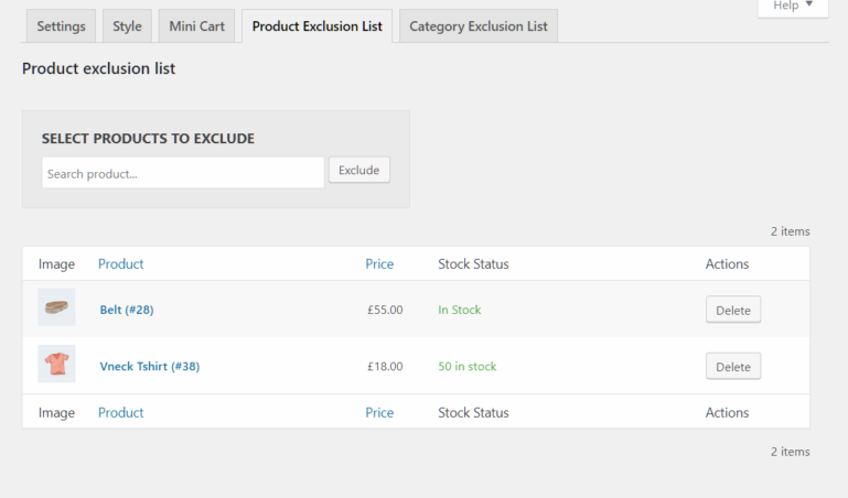 Product exclusion list