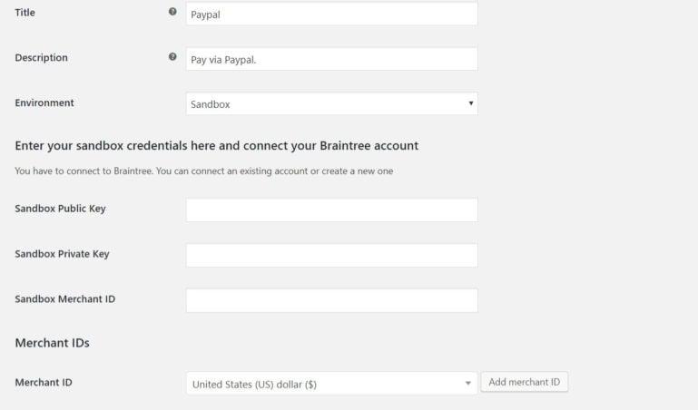 PayPal settings 1/2