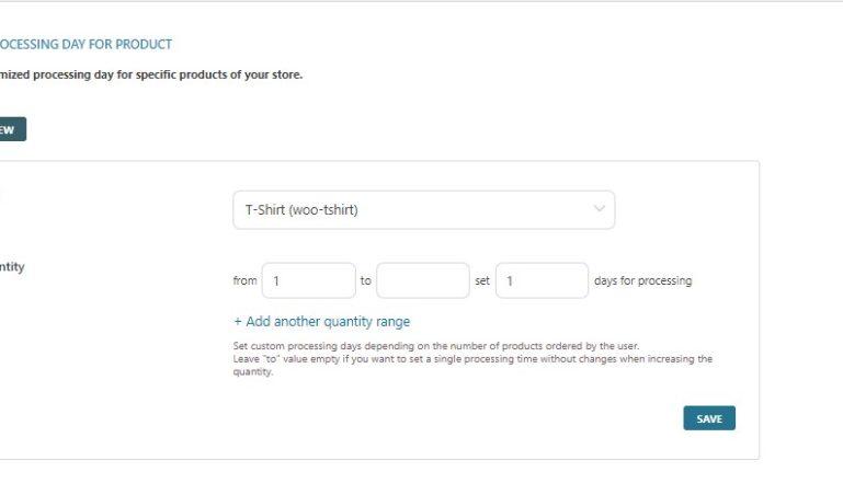 Custom processing day settings