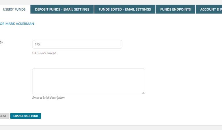 User's funds - details