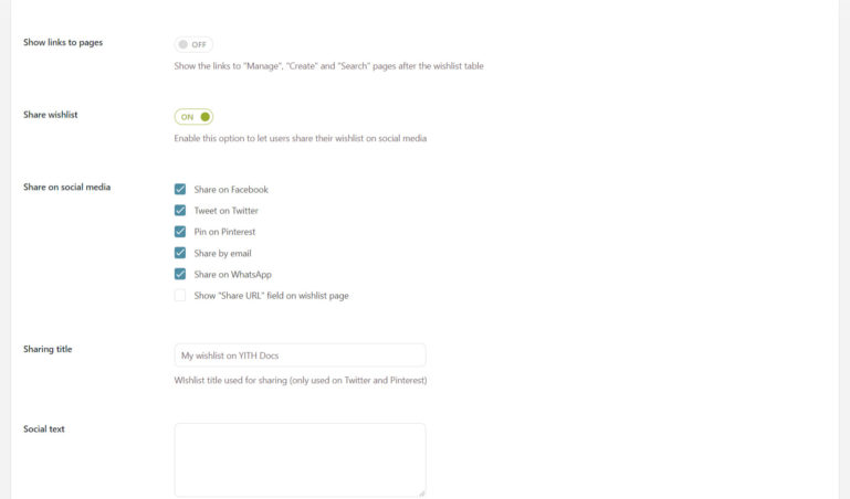 Wishlist page options (3/8)