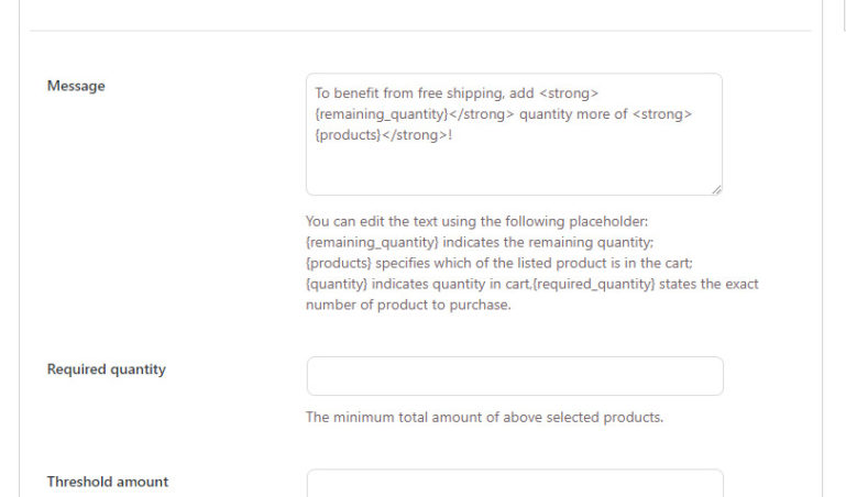 New message settings - Products in cart (1/3)