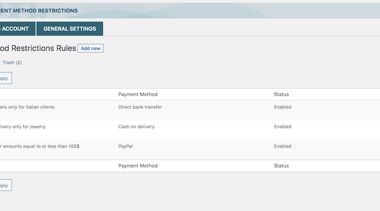 Payment method restrictions rules
