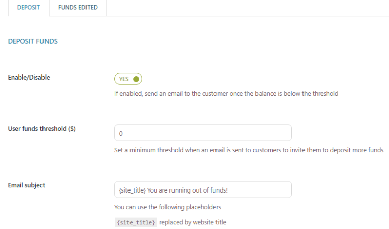 Deposit funds – Email settings