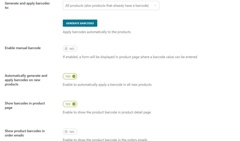 Product barcode settings (2/2)