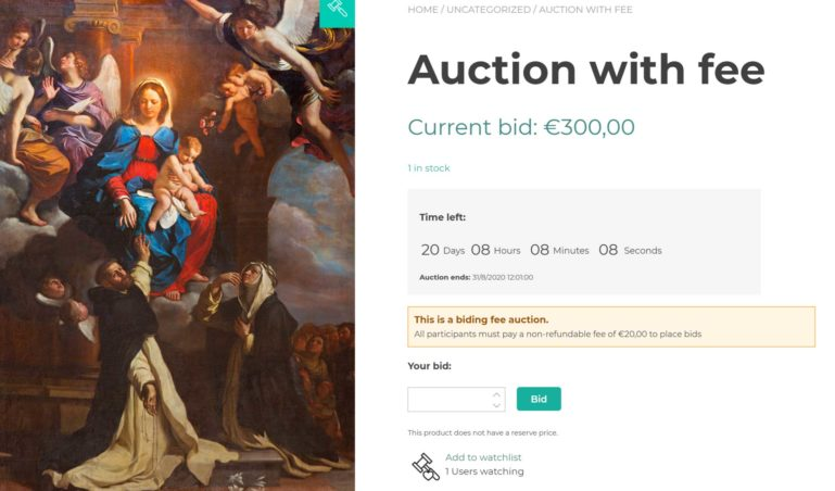 Auction with a fee