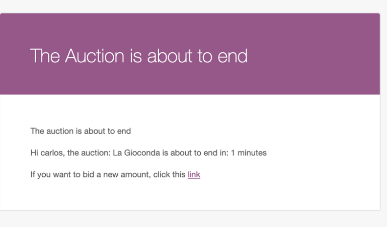 Auction about to end