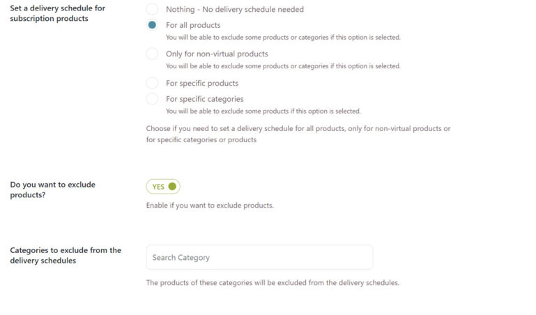 Subscription Delivery schedule settings (1/2)
