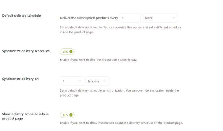Subscription Delivery schedule settings (2/2)