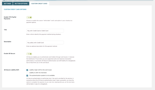 Custom Credit Card page of the PayPal Payments for WooCommerce plugin