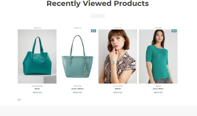 Page Recently viewed products