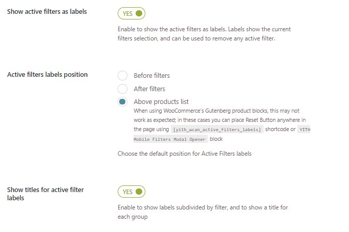 Active filters options