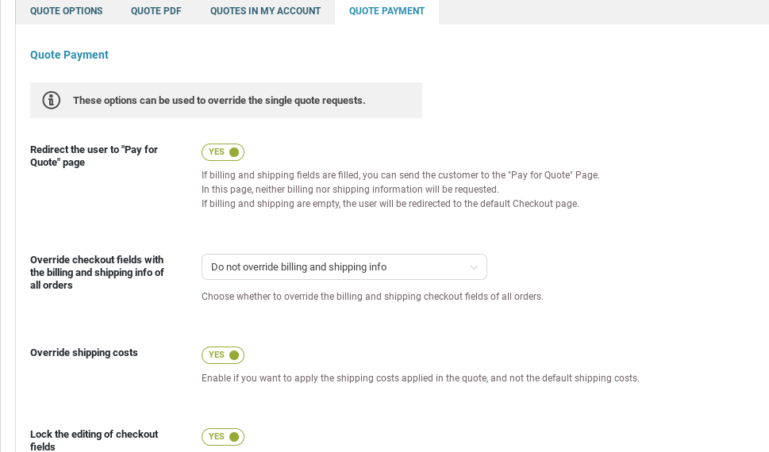 Quote options - Quote payments