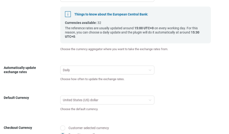General settings - Automatic rates