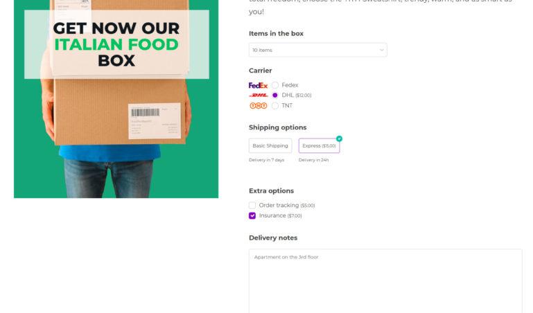 Custom box - with select, radio, label, checkbox and textarea options