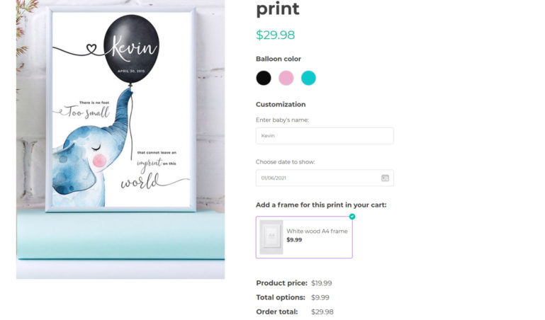 Customized print - with color swatches, text input, date and product options