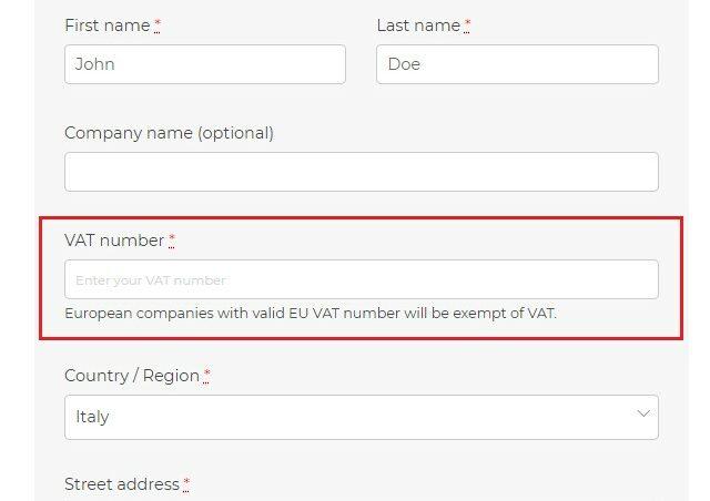 EU VAT field on Checkout page