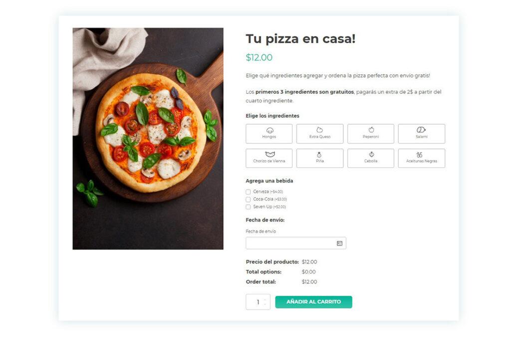 Pizza - producto personalizable