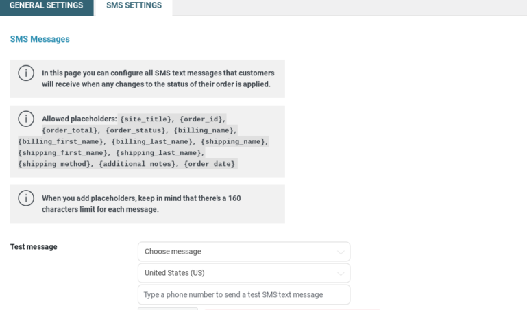 SMS Settings - Messages