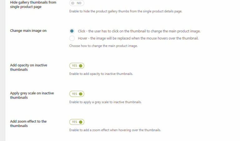 Product gallery options (1/2)