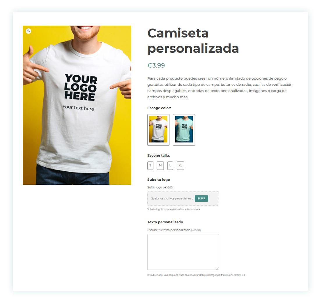 Resultado final camiseta personalizable