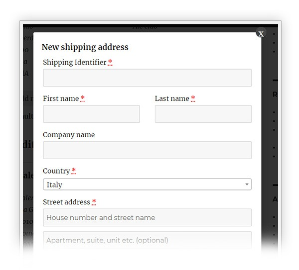 Edit new shipping address