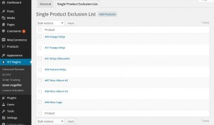 Product exclusions list