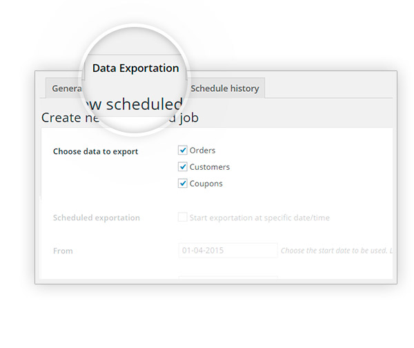 data exportation tab