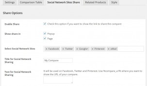 "Tab ""Social Network Sites Share"" - Panel Options"