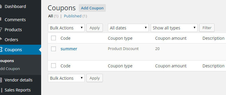 Coupons  -Vendor view