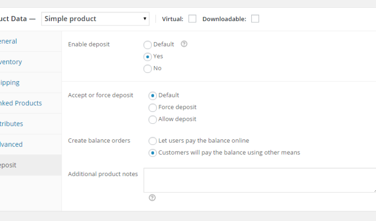 Deposit settings - Single product