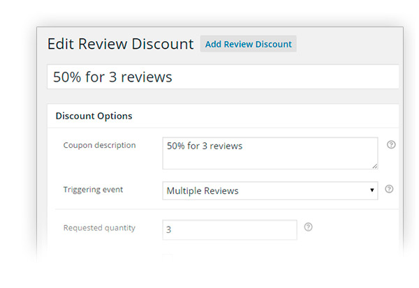Discount for multiple reviews