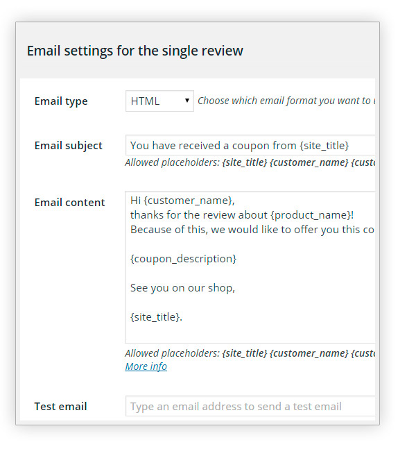 Email settings for single review