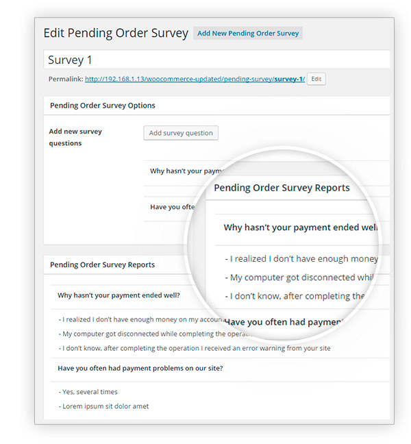 Pending Order Survey Answers
